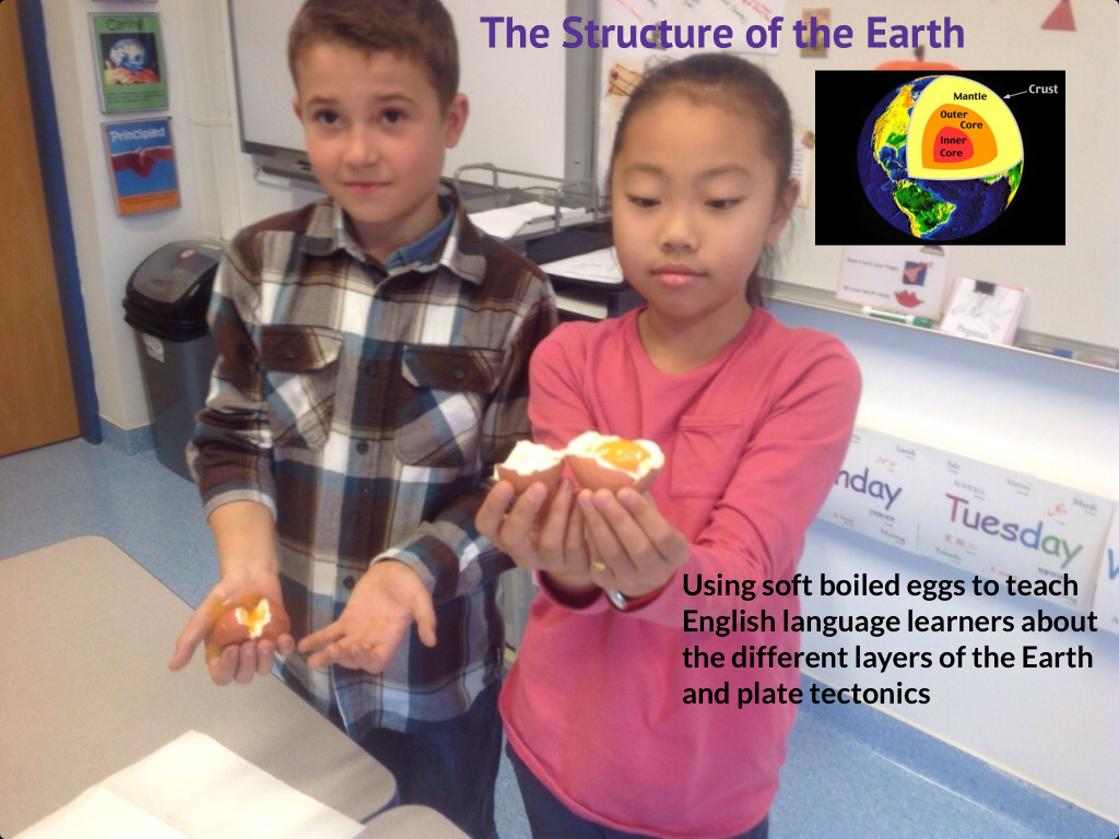 4th grade EAL students learn about the structure of the Earth and plate tectonics with soft boiled eggs.